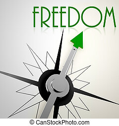Freedom on green compass Concept of healthy lifestyle