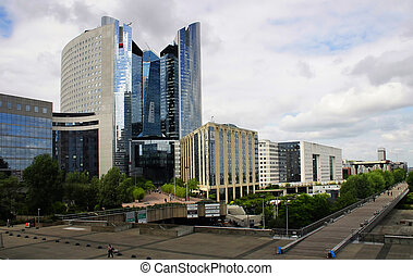 Business buildings at La Defense district, Paris, France