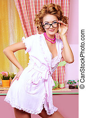 coquette lady - Sexy pin-up girl wearing pink bathrobe...