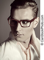 glasses for men - Modern young man in white jacket and...
