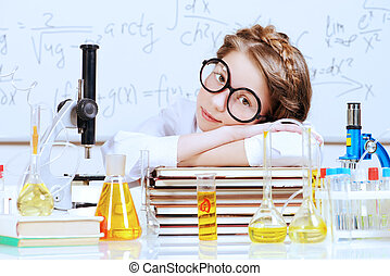 scientist girl - Tired girl fell asleep doing research in...