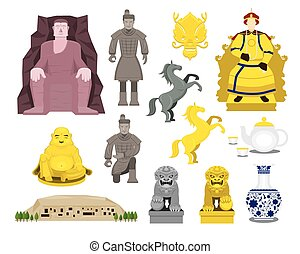 China History Objects Set - Travel Attraction, History,...