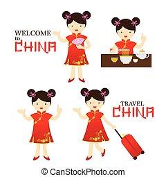 Chinese Girl Dress Cheongsam Character Set - Travel,...