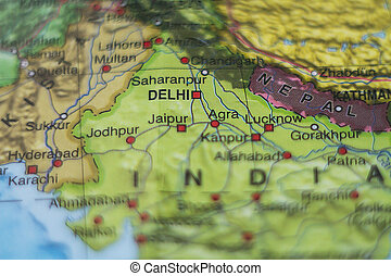 India on map - Photo of a map of India and the capital Delhi...