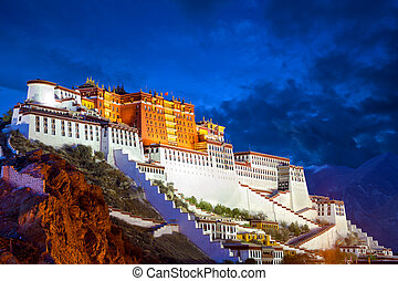 Potala Palace at dusk - Potala Palace at night in Lhasa,...