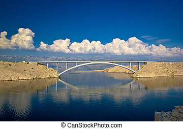 Island of Pag bridge and Velebit mountain view, Croatia
