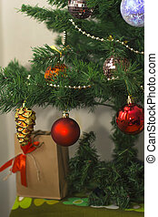 Christmas tree with colorful toys