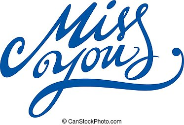 Miss You - Inscription for saint Valentines day postcard -...
