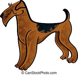 Airedale Terrier - Colorful illustration of the dog airedale...