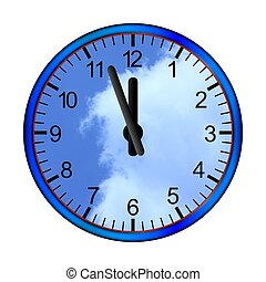 Blue clock clouds - Hours five twelve sky with clouds in the...