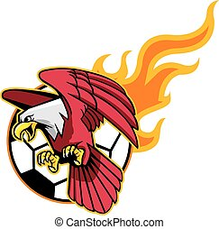 Flying Bald Eagle And Flaming Socce - Vector illustration of...