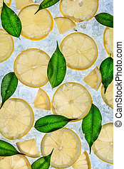 Close up of lemon on ice drift - Close up of lemons slices...