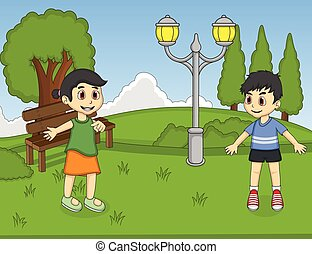 Children playing at the park