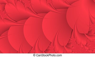 Fantastic red abstract fractal background - Digitally...