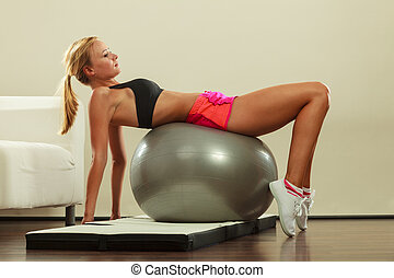 woman doing fitness exercises with fit ball - Sport,...