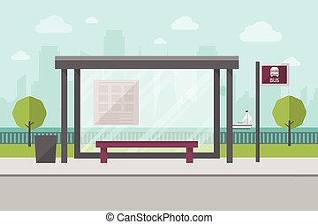 Bus Stop - Vector Illustration of Bus Stop with City Skyline...