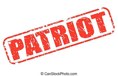 PATRIOT red stamp text on white