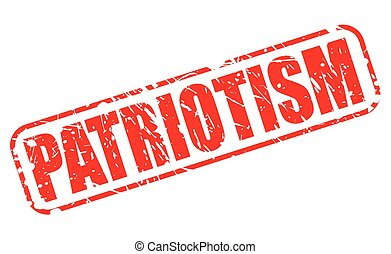 PATRIOTISM red stamp text on white