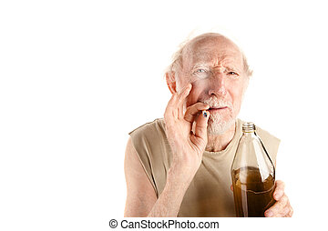 Senior man with cigarette and alcohol - Senior man in ragged...