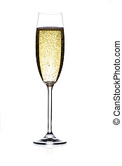 champagne flute - glass of sparkling wine, isolated, studio...