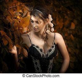 Sensual woman with roses in hair - Beautiful sensual woman...