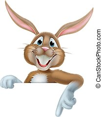 Easter Bunny Pointing - Cartoon Easter bunny rabbit peeking...
