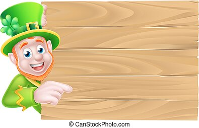 Leprechaun Wooden Sign - Leprechaun cartoon St Patricks Day...