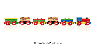 Toy Train - Wooden toy train with a locomotive and five...