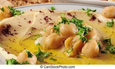 Hummus with olive oil.