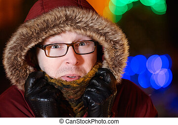 freezing Man with glasses