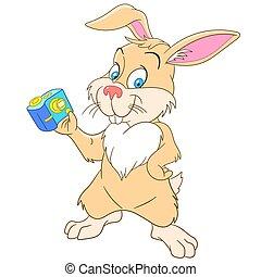 cute cartoon rabbit selfie - cute and happy cartoon bunny...