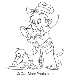 smart young cartoon detective boy and his bloodhound dog are...