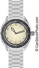 Wrist watch - Classic metallic wrist watch vector
