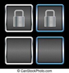 Metallic padlock icons