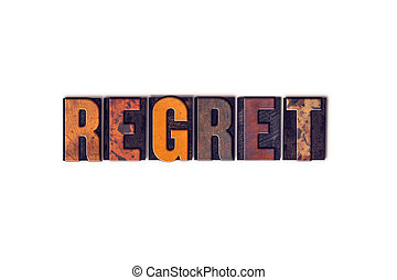 regret, concept, isolé, Letterpress, type,