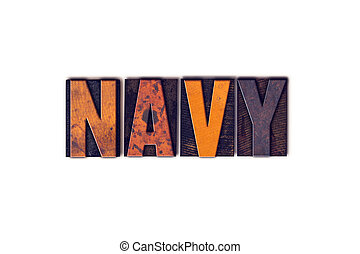 Navy Concept Isolated Letterpress Type