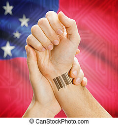Barcode, id, numero, su, polso, e, nazionale, bandiera, su,...