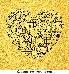 Gold and Black Valentine's Day Line Icons Set Heart Shape