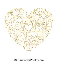 Gold Valentine`s Day Line Icons Set Heart Shape Vector...