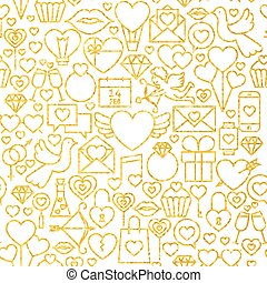Thin Line Gold Valentine`s Day Seamless Pattern Vector...