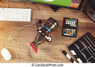 Escritorio, tiro, de, Un, moderno, cine, cámara,