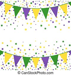 Mardi Gras bunting background with confetti stars