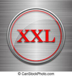 XXL  icon. Internet button on metallic background.