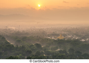 mandalay - Top view of Mandalay at morning with warm...