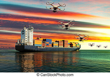Transport industry - The small drones flying in the sunset...
