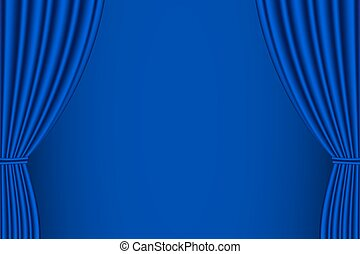 Blue curtain opened. - Blue curtain opened with blue...