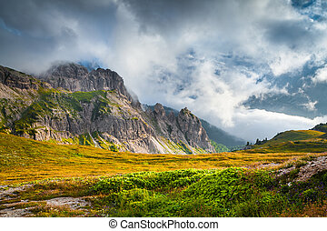 Foggy summer scene in the National Park Tre Cime De Lavaredo...