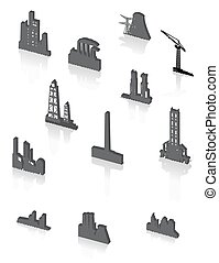 Black factory icons set - Vector black factory icons set