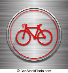 Bicycle icon Internet button on metallic background