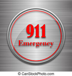 911 Emergency icon. Internet button on metallic background....
